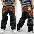 2016 Nuevo diseño del nuevo muchacho baggy jeans bordado para hombre de hip hop pantalones sueltos de gran tamaño pantalones de cintura del rapero rap tamaño 30-44