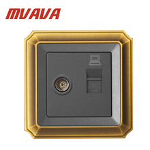 MVAVA TV/Television Aerial + Network Ethernet LAN RJ45 PC/Computer Wall Socket Coaxial Outlet,Luxury Decorative Bronzed panel