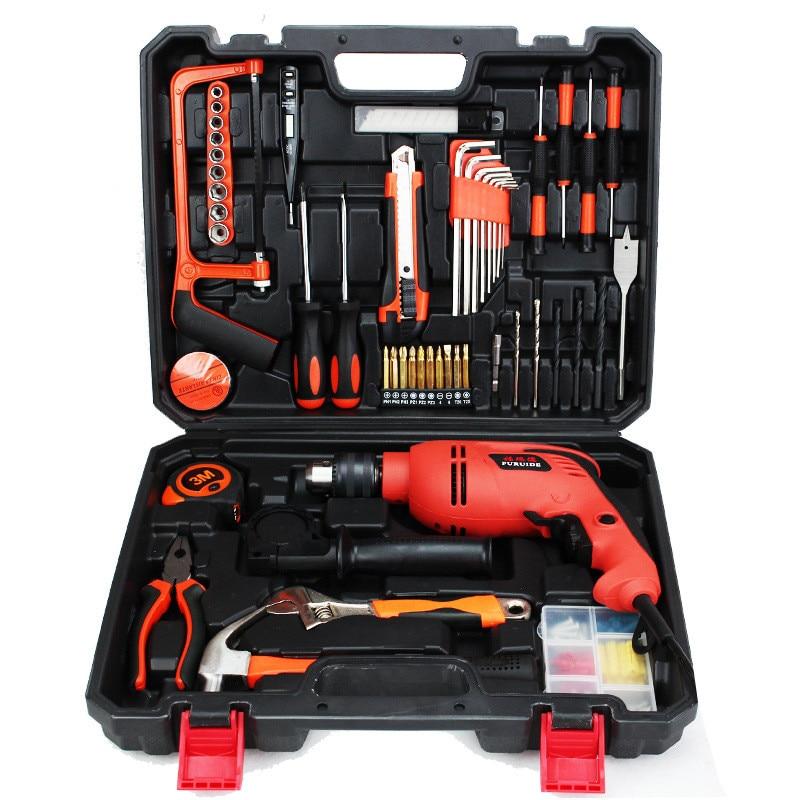 набор домашних инструментов с электродрелью - 88PCS 500W impact electric drill household utility tool set multi-functional hardware maintenance toolbox repair tool