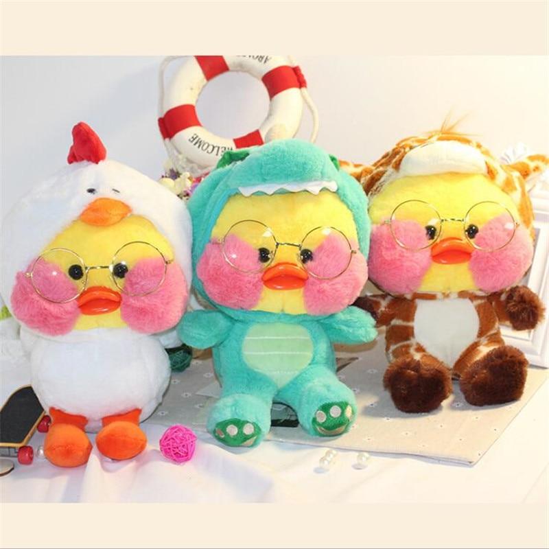 Lalafanfan Plush Stuffed Toys Kawaii Cafe Mimi Yellow Duck Role Playing Giraffe Chicken Plush Toys Valentine's Day Kids Gifts