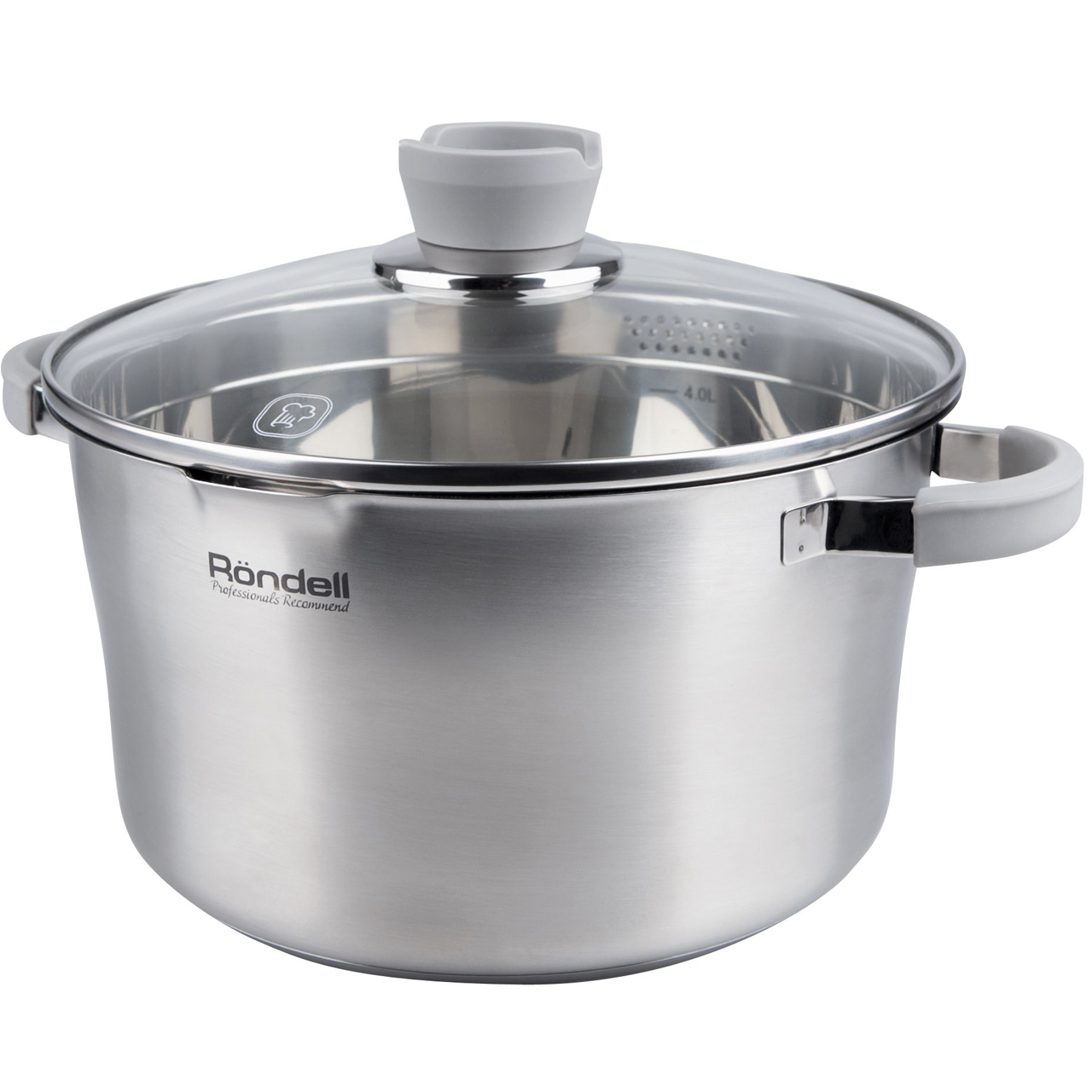 Фото - Saucepan with lid Rondell Favory (5,6 L) RDS-742 (Diameter 24 cm, Volume 5.6 L, stainless steel, suitable for all types of plates) saucepan with lid eurostek es 1007 volume 4 5 liter diameter 22 cm пятислойное bottom suitable for all types of plates