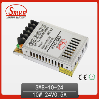 10W Ultra tipo estrecho Modo de conmutación de salida única fuente de alimentación 24V 0.4A AC-DC Delgado Led Driver SMB-10-24