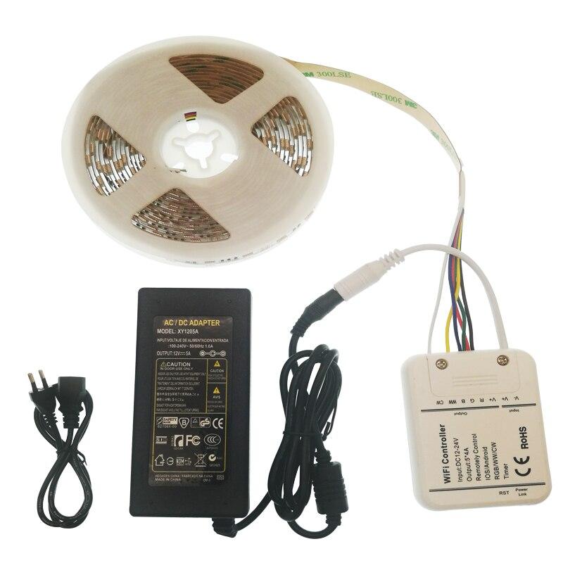 WI FI Светодиодные ленты 5 M RGB + W + WW DC12V Тира неоновая световая лента + WI FI контроллер + 5A адаптер питания