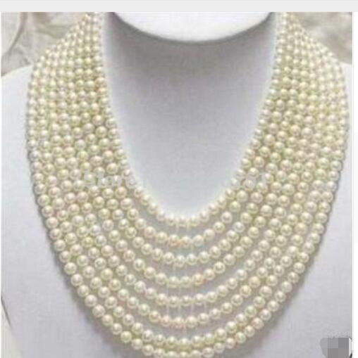 Femmes cadeau eau douce nouveau 8 rangées 6-7mm blanc perle d'eau douce Shell collier corde chaîne perles bijoux fabrication de Ston naturel