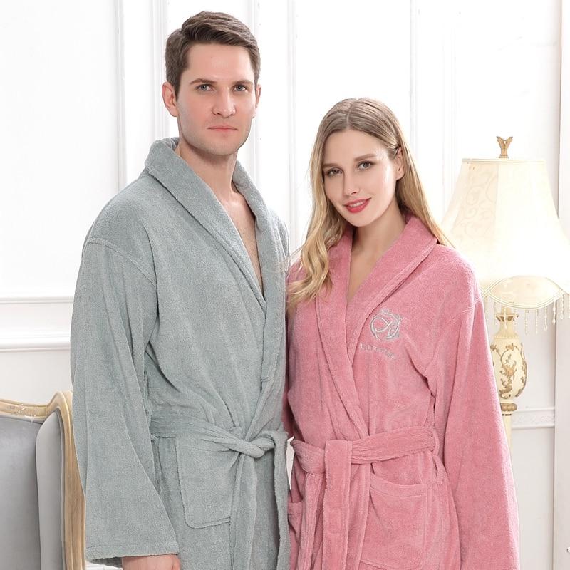 Cotton Men Bathrobe Pijamas XXL Plus Size Long Thick Winter Towel Fleece Nightgown Bridesmaid Kimono Robe White Lovers Soft