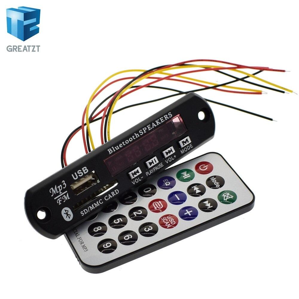 GREATZT Newest Arrival 1pcs Wireless Bluetooth 12V MP3 WMA Decoder Board Audio Module USB TF Radio For Car Accessories