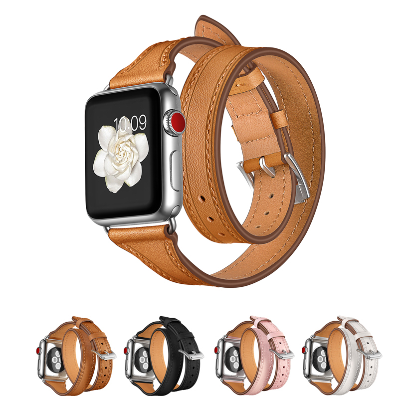 Double Tour bracelet strap for apple watch band 4 44mm 42mm 38mm correa textured Genuine Leather watchband for iwatch 40mmDouble Tour bracelet strap for apple watch band 4 44mm 42mm 38mm correa textured Genuine Leather watchband for iwatch 40mm