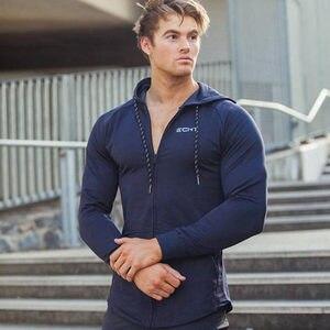 Image 3 - Mannen Katoen Hoodies Fashion Casual Rits Sweatshirt Sportscholen Fitness Bodybuilding Workout Slanke Sportkleding Capuchon Kleding