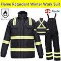 Мужская Hi vis огнезащитных спецодежды работы костюм Пожарного, Костюм Зимний Папка зима нагрудник брюки в целом