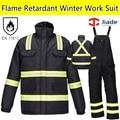Alta visibilidad ropa de trabajo retardante de llama de los hombres traje de Bombero Traje de Invierno Papka invierno babero pantalón general