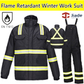 Men's Hi vis flame retardant workwear work suit Fire Fighter Suit Winter Papka  winter bib pant overall