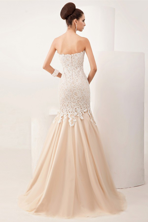 Strapless Lace Mermaid Champagne Colour Wedding Dress Chiffon Simple Vestido De Noiva Fashion 2017 Bridal Gowns Hw787 In Dresses From Weddings