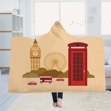 Hooded blanket cloak magic hat thick double-layer plush 3D digital printing architectural series