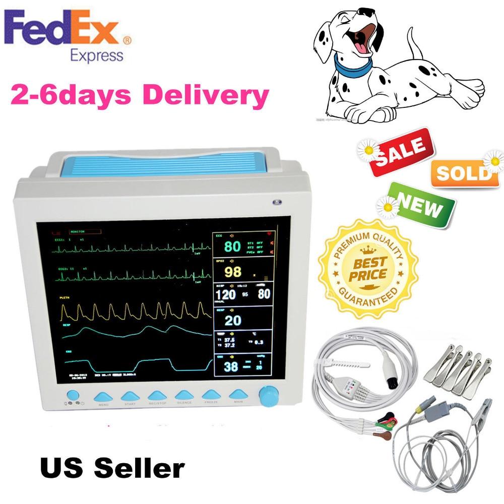 For VET ICU CCU Veterinary PATIENT MONITOR ECG EKG SPO2 PR NIBP 6 PARAMETERS US CONTEC CMS8000 VET