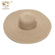 JOEJERRY Summer Wide Brim Floppy Foldable Straw Sun Hat UV Big Woman Beach UPF50
