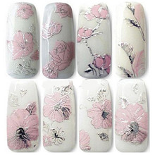 A# 2017 stickers for nails Fashion gril 3D Embossed Pink Flowers Design Nail Art Decal Tips Stickers Sheet Manicure #1108