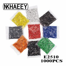 1000pcs/Pack E2510 Insulated Cord End Terminal Crimp Terminal Wire Connector Crimp Ferrules Crimping Terminals Tubular AWG #14 16 14 awg non insulated ring tongue terminals connector 1000 pcs