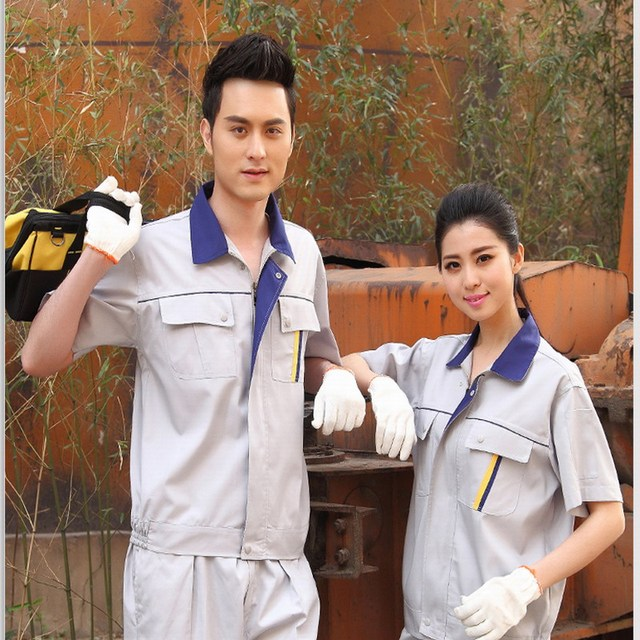 Short-sleeve work wear food work clothes summer work clothes set male work wear