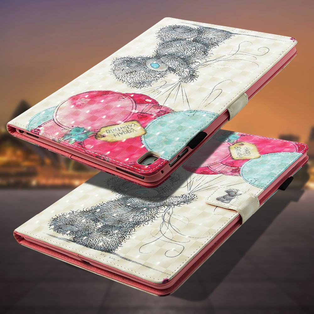 LUCKBUY For Apple iPad Pro 9.7 2016 3D Printed Butterfly OWL Unicorn Effiel Cute Bear PU Leather Cover 7 inches