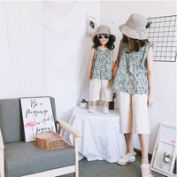 Mother and Daughter Clothes Fashion Cotton and Linen Baby Girl Floral Sets Sleeveless Vest T Shirt+capris Pants Suit Family Sets