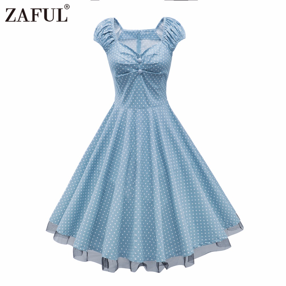 2017 Womens Summer Sexy V Neck Party Dresses 50s 60s Retro Style ...