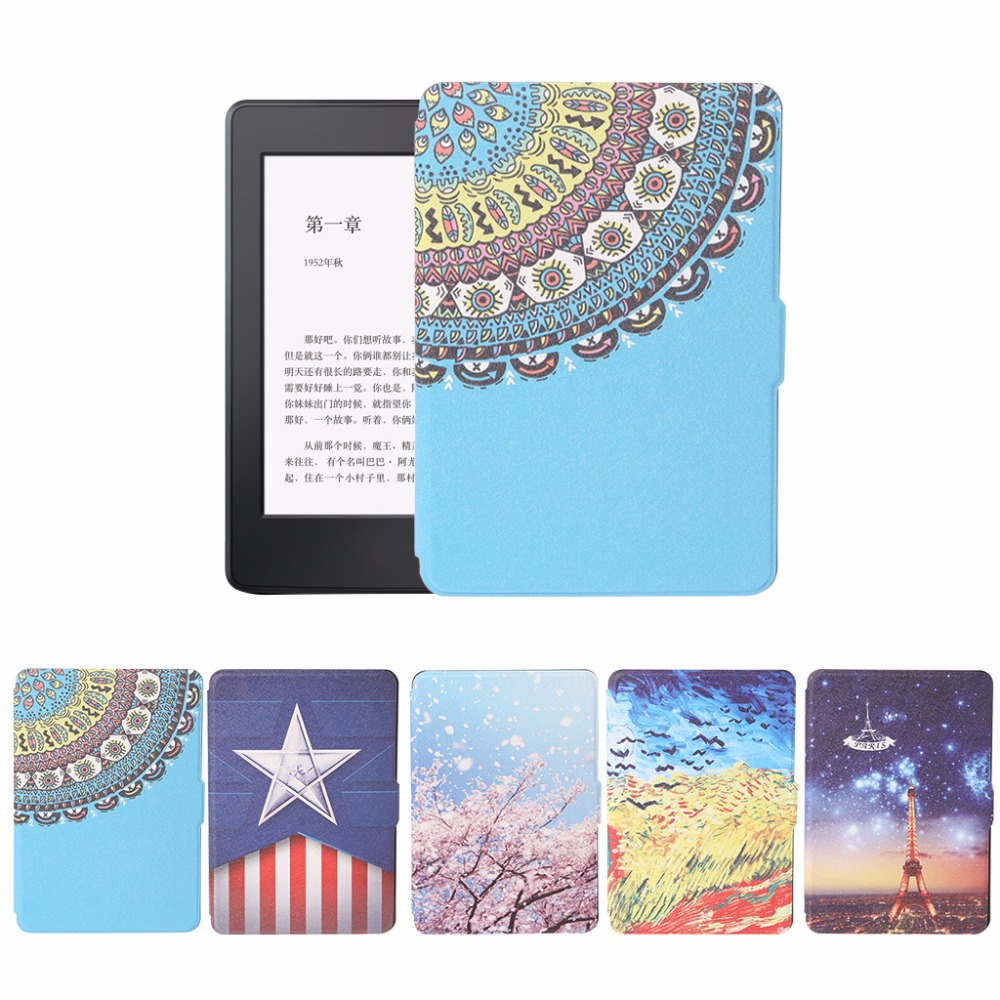 Fashion Printed Leather Protective Skin Cover Tablet Case For Amazon Kindle Paperwhite 1/2/3 e-Books Case 5 Patterns C26 xx fashion pu leather cute case for amazon kindle paperwhite 1 2 3 6 e books case stand style protect flip cover