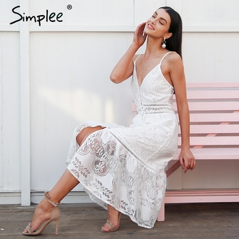 67194d8265d Simplee Elegant strap long summer dress women V neck button sexy lace dress  female Casual white maxi dress festa vestidos 2018