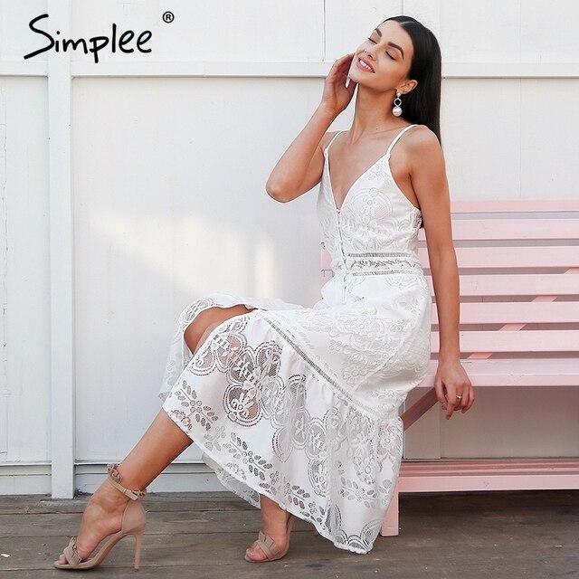 Simplee Elegante riem lange zomerjurk vrouwen v-hals button sexy kanten jurk vrouwelijke Toevallige witte maxi jurk festa vestidos 2019