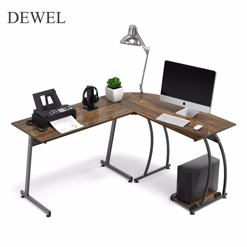 DEWEL L Shaped Corner Computer Desk 59'' X 51'' Home Office Table 3-Piece Corner Laptop Desk with Free CPU Stand 2 Sides Switch
