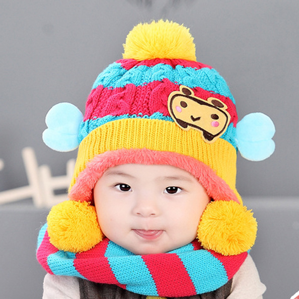 4bd8ad80 Nnew primuin collection best baby warm hat with scarf set cute child winter  hat kids hat lovely baby bee cap beanie hats -in Scarf, Hat & Glove Sets  from ...