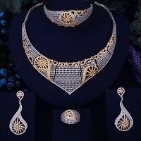 GODKI Luxury Conch Design Gold Silver Mixed Women Nigerian Wedding Naija Bride Cubic Zirconia Necklace Dubai 4PCS Jewelry Set