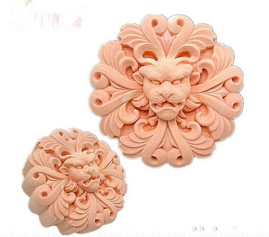 2D silicon silicon / argila polimer / argilă de argilă de porțelan rece / tencuială mucegai - leu coarne- mâner săpun mold