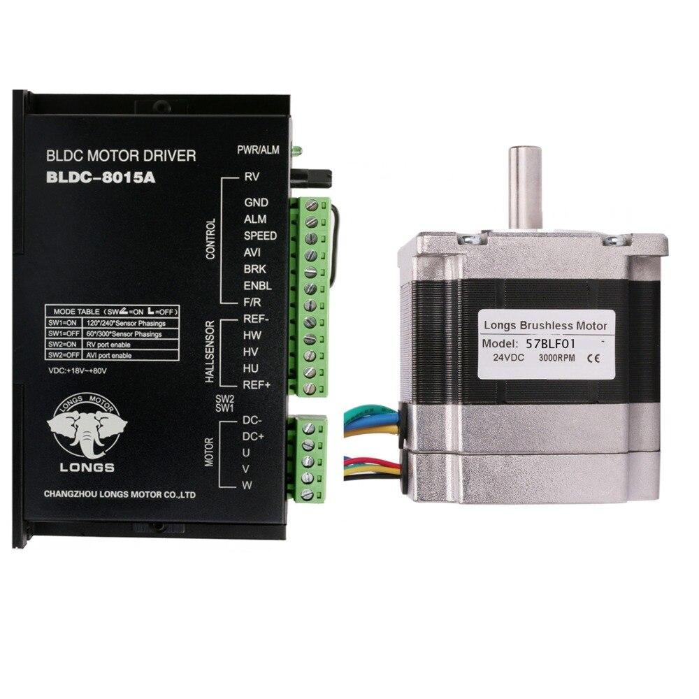 Free Ship US&US Ship Brushless DC Motor 63W 24V 3000RPM 57BLF01  0.6N.m Peak Driver BLDC-8015A CNC Router