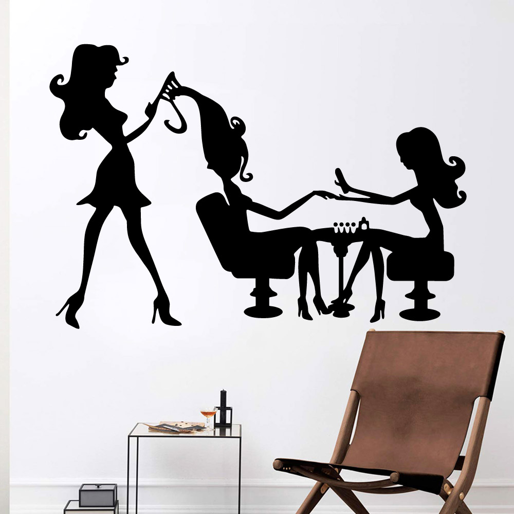Modern beauty salon Vinyl Wall Stickers Decor For beauty salon Bedroom Decoration Removable Wall Art Decal wallsticker wallpaper in Wall Stickers from Home Garden