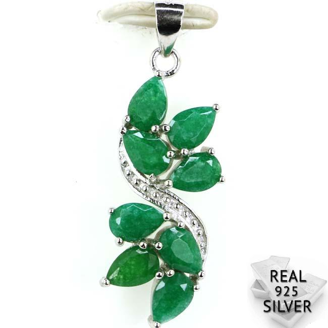 Guaranteed Real 925 Solid Sterling Silver 2.5g New Arrival Real Green Emerald CZ Ladies Woman's Pendant 34x12mm