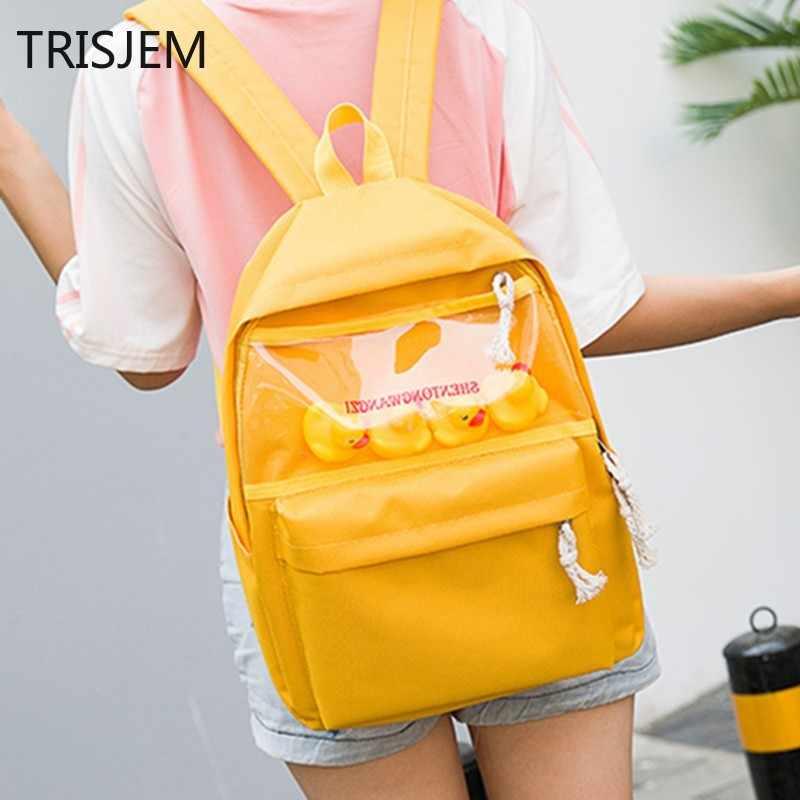 58633b37902c Korean ulzzang harajuku Duck women s backpack 2018 Female Candy Color Canvas  Schoolbags for Girls mochila escolar