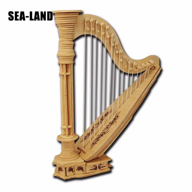 2019 Nouveau 3D bricolage puzzle en bois Jouets Pour Enfants L'antiquité Harpe puzzle éducatif jouet montessori Musique Passe-Temps Cadeau Pour Enfants Adulte