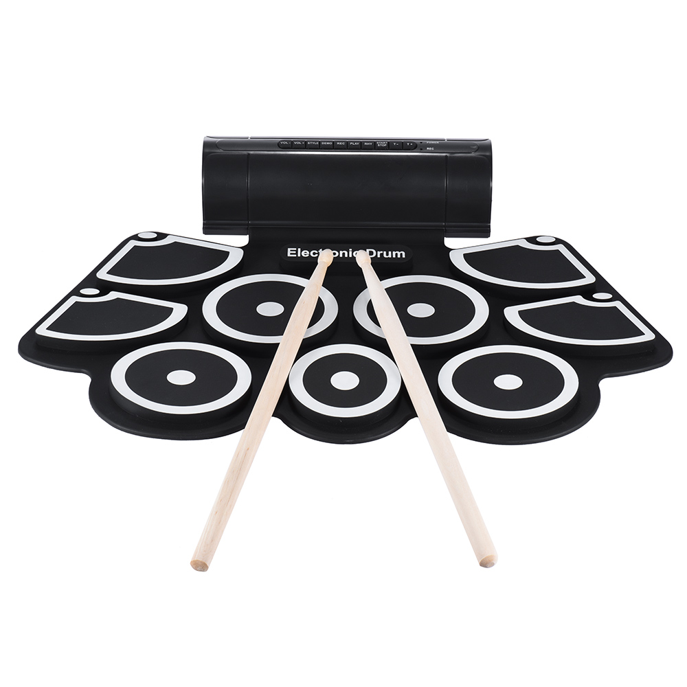 Portable Electronic Drum Roll Up Drum Pad Set 9 Silicon Pads Built in Speakers with Drumsticks Foot Pedals USB 3.5mm Audio Cable-in Drum from Sports & Entertainment    1