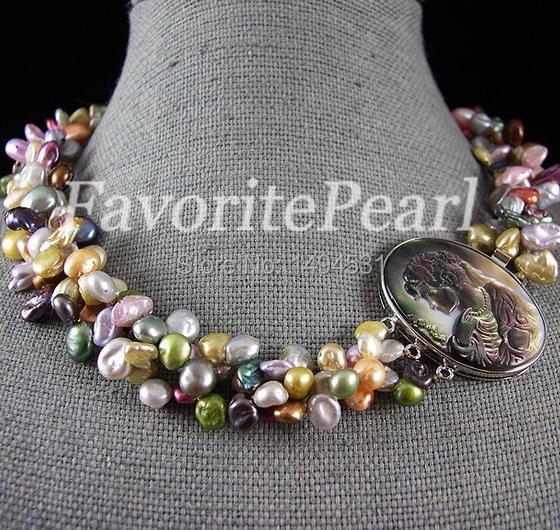 Free Shipping Triple Row 7 8mm 19 Inches Mix Color Keshi Pearl Necklace Wholesale Pearl Jewelry