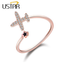 USTAR Crystals Plane Star wedding Rings for women AAA Zircon finger rings female Jewelry Opening adjustable size Party gifts