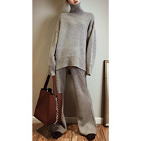 2018 Promotion High end Custom Cashmere Knit 2 Sets High neck Sweater Wide leg Pants Suit Loose Lazy Thick Two piece Female