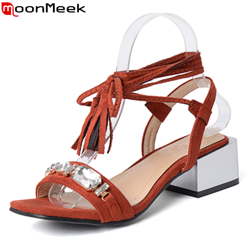 MoonMeek summer new arrive women sandals fashion square toe ankle strap flock rhinestone ladies med shoes big size 32-48 new 2017 spring summer women shoes pointed toe high quality brand fashion womens flats ladies plus size 41 sweet flock t179