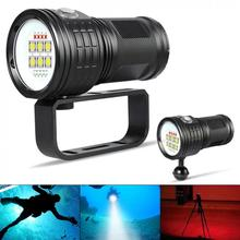Flashlight Torch QH14-7 300W Six 9090 White XML2 Four XPE Red R5 Four XPE Blue R5 LED Underwater 80m for Diving Photography Vide qh14 300w 28800 lumens six 9090 white xml2 four xpe red r5 four xpe blue r5 led diving light with 7 modes flashlight