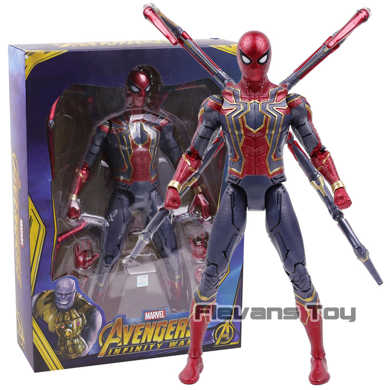 Marvel Avengers Infinite War Spiderman Iron Spider with LED Light Super Hero PVC Action Figure Collectible Model Toy new arrival marvel avengers super hero spiderman spider man carnage action figure