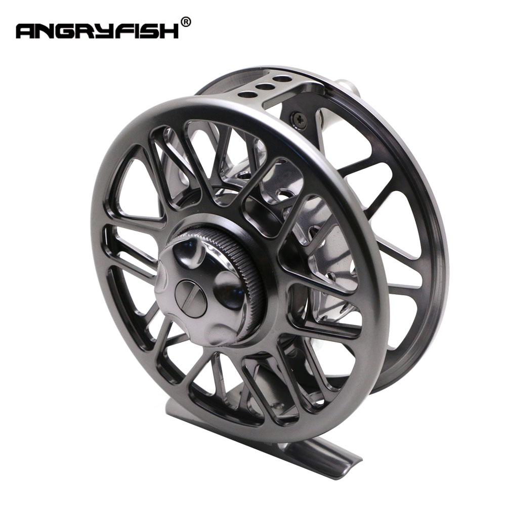 ANGRYFISH Full Metal FR9/10 Fly Fishing Reel 2+1BB Aluminum Alloy Casting Fly Reel Fishing Reel aluminum alloy fly fishing reel silver 0 30mm 200m