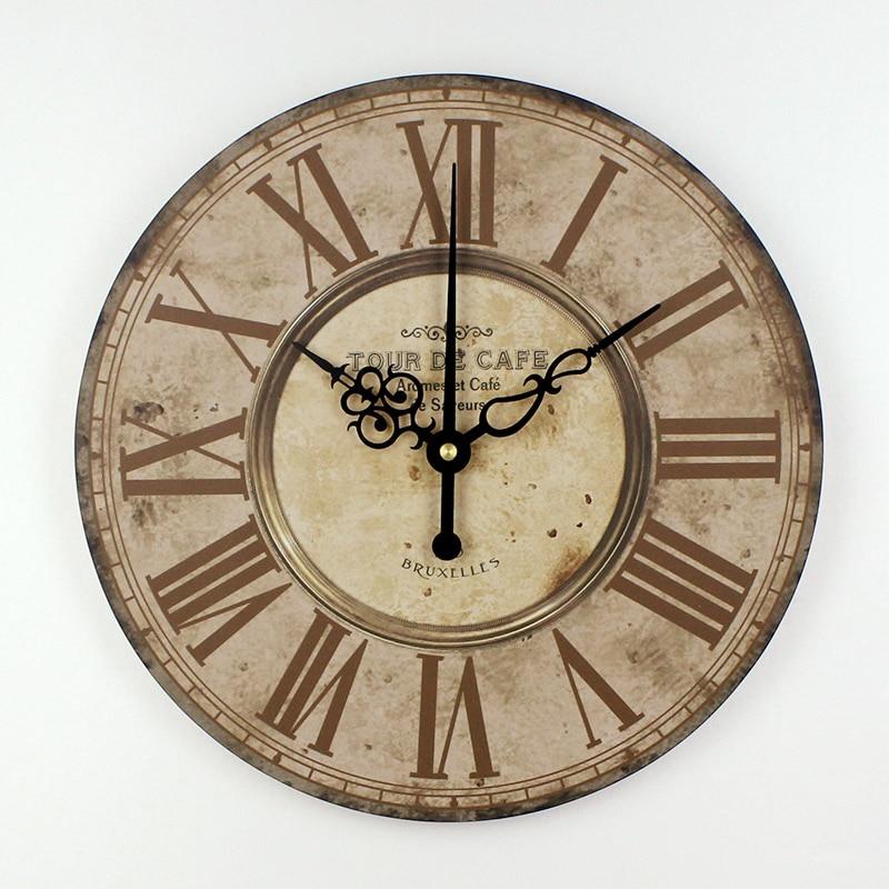 home decor absolutely mute quartz wall clock retro roman ...