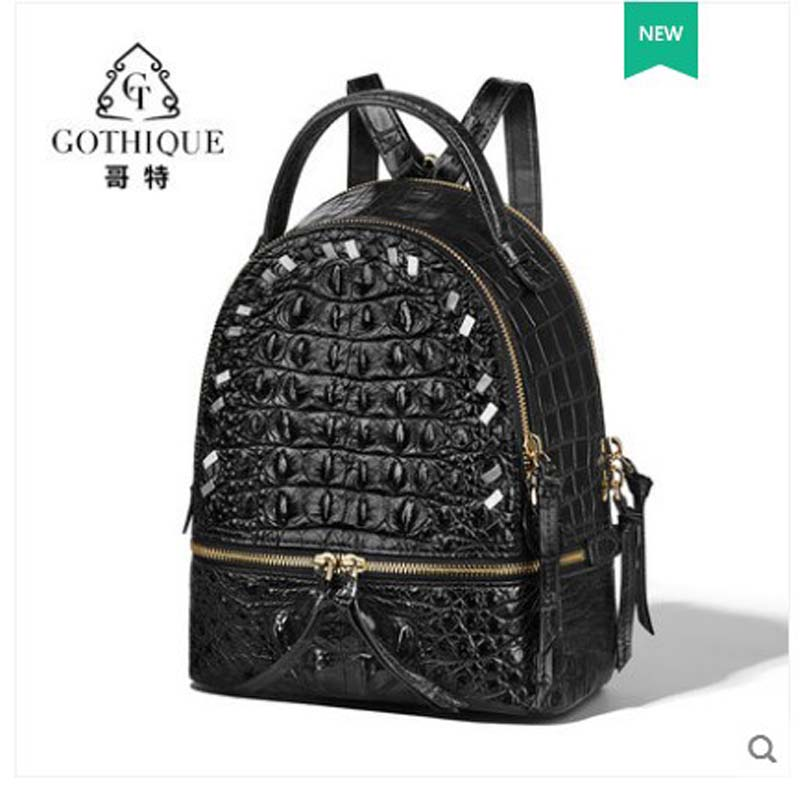 Gete 2019 New Crocodile Leather Backpack For Ladies Leisure Travel Small Backpack Leather Zip Bag For Ladies Women Backpacks