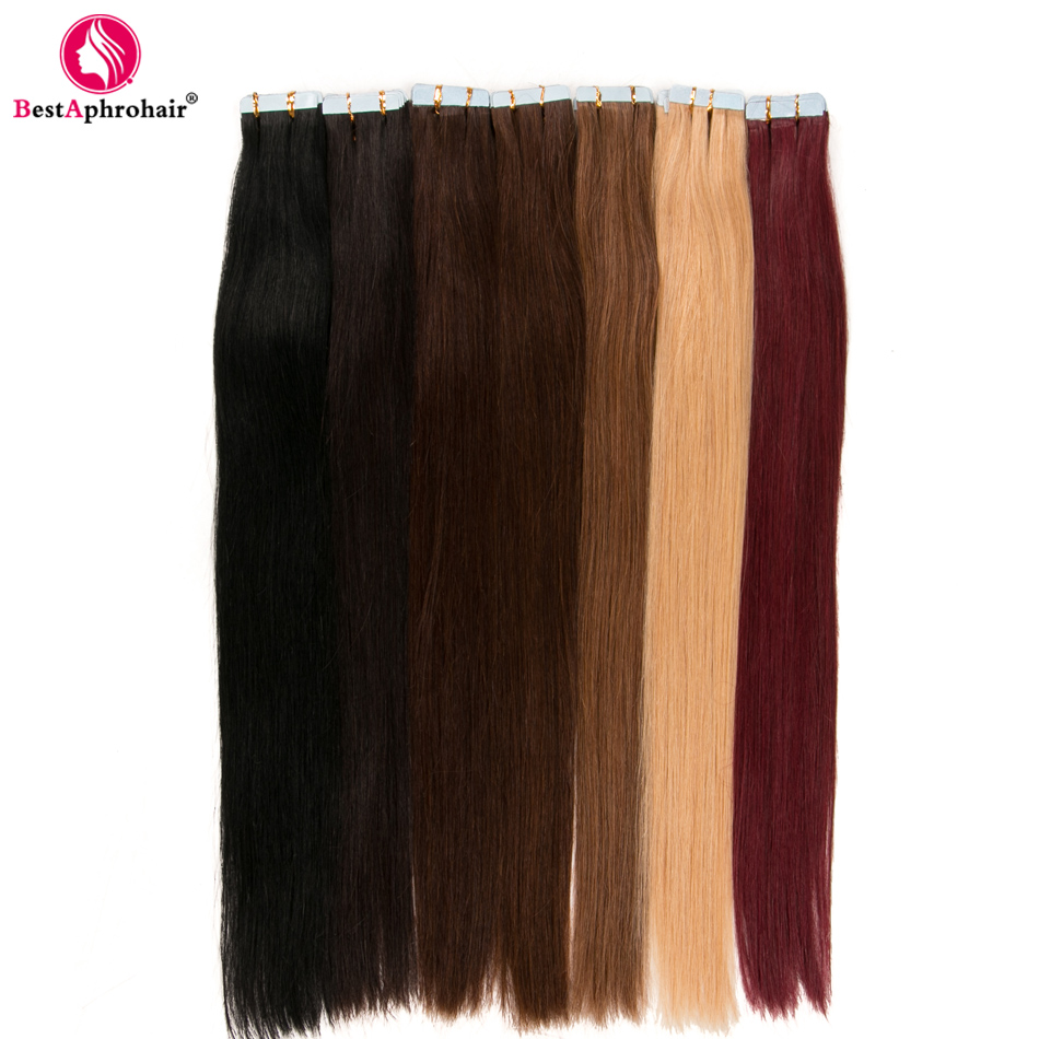 Aphro Cheveux 20 pièces Ruban Dans Les Extensions De Cheveux Non Remy Brésilien Cheveux Raides 100% Trame de Peau de Cheveux humains #1 # 1b #2 #4 #6 #8 #12 #27 #613 # 99j
