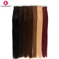 Aphro Hair 20pcs Tape In Hair Extensions Non Remy Brazilian Straight Hair 100% Human Hair Skin Weft #1#1b#2#4#6#8#12#27#613#99j