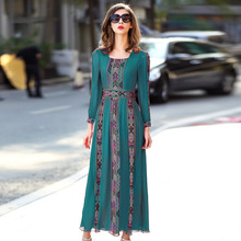 A35942 Wholesale 2017 European&American High-grade Women Natural Silk Dress Embroidery100% Silk Dress